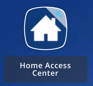 Blue house icon with text that says Home Access Center