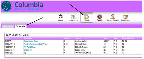 "Image shows icons in a row. Arrow points toward one labeled ""Classes."" Another arrow points to a tab labeled ""Schedules."""