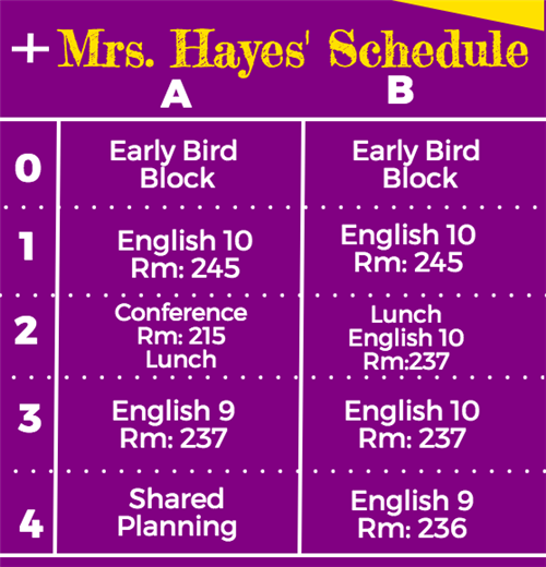 Mrs. Hayes' Schedule