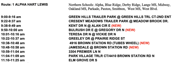 Grab and Go Bus Route 1 Alpha Hart Lewis